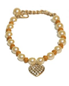 Collier de perle beige et blanc avec coeur pour chien et chat
