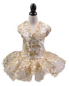 jolie robe brodée doré pour chien