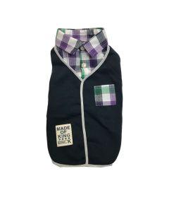 Veston et chemise pour chiens bleu à carreaux