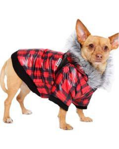 manteau hiver petit chien rouge et noir