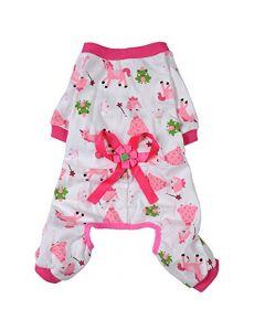 pyjama rose et blanc pour chien