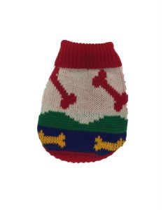 Chandail en tricot pour chiens, motif d'os