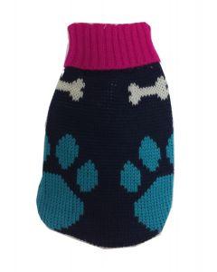 Chandail en tricot pour chiens turquoise et rose